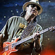 Carlos Santana On Guitar 2 Print by The  Vault - Jennifer Rondinelli Reilly