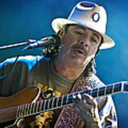 Carlos Santana On Guitar 3 Print by The  Vault - Jennifer Rondinelli Reilly