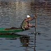 Cartoon - Man Plying A Wooden Boat On The Dal Lake Print by Ashish Agarwal