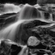 Cascades In Black And White Print by Ellen Heaverlo