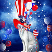 Cat In Patriotic Hat Print by Carol Cavalaris