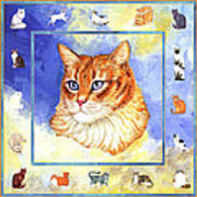 Cats Purrfection Five - Orange Tabby Print by Linda Mears