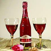 Celebrate With Sparkling Rose Wine Print by Inspired Nature Photography Fine Art Photography
