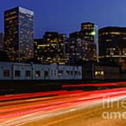 Century City Skyline At Night Print by Paul Velgos