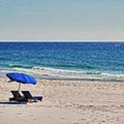 Chairs On The Beach With Umbrella Print by Michael Thomas
