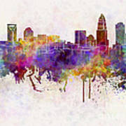 Charlotte Skyline In Watercolor Background Print by Pablo Romero