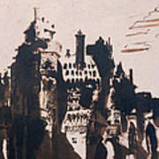 Chateau Fortified By Two Bridges Print by Victor Hugo