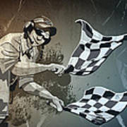 Checkered Flag Grunge Monochrome Print by Frank Ramspott