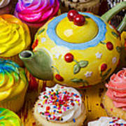 Cherry Teapot And Cupcakes Print by Garry Gay