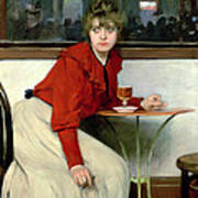 Chica In A Bar Print by Ramon Casas i Carbo