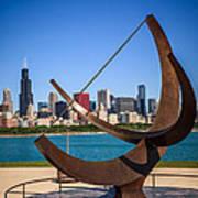 Chicago Adler Planetarium Sundial And Chicago Skyline Print by Paul Velgos