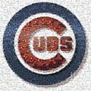 Chicago Cubs Mosaic Print by David Bearden