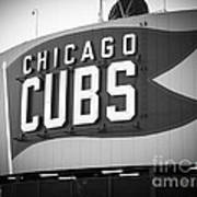Chicago Cubs Wrigley Field Sign Black And White Picture Print by Paul Velgos