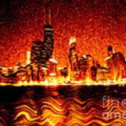 Chicago Hell Digital Painting Print by Paul Velgos