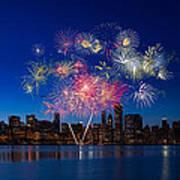 Chicago Lakefront Fireworks Print by Steve Gadomski