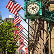 Chicago Macy's Clock And Chicago Theatre Sign Print by Paul Velgos