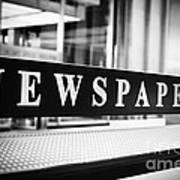 Chicago Newspapers Stand Sign In Black And White Print by Paul Velgos