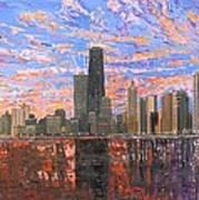Chicago Skyline - Lake Michigan Print by Mike Rabe
