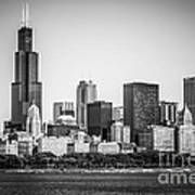 Chicago Skyline With Sears Tower In Black And White Print by Paul Velgos