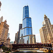 Chicago Trump Tower At Michigan Avenue Bridge Print by Paul Velgos