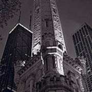 Chicago Water Tower Panorama B W Print by Steve Gadomski
