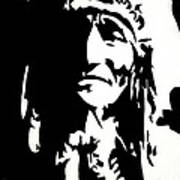 Chief Half In Darkness Print by HJHunt