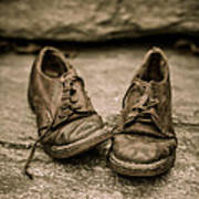 Child's Old Leather Shoes Print by Edward Fielding