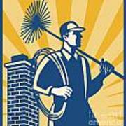 Chimney Sweeper Cleaner Worker Retro Print by Aloysius Patrimonio