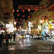 China Town At Night Print by Linda Woods