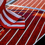 Chris Craft With American Flag Print by Michelle Calkins