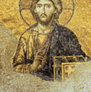 Christ Pantocrator-detail Of Deesis Mosaic Hagia Sophia-judgement Day Print by Urft Valley Art