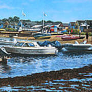 Christchurch Hengistbury Head Beach With Boats Print by Martin Davey