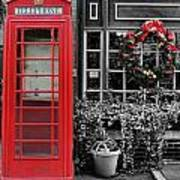 Christmas - The Red Telephone Box And Christmas Wreath IIi Print by Lee Dos Santos