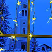 Christmas Decoration - Yellow Stars And Blue Church Print by Matthias Hauser