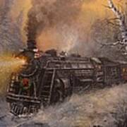 Christmas Train In Wisconsin Print by Tom Shropshire