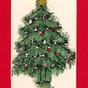 Christmas Tree With Red Mat Print by Mary Helmreich