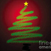 Christmas Tree With Star Print by Genevieve Esson