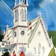 Church With Jet Contrail Print by Kip DeVore