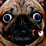 Cigar Puffing Pug - Electric Art Print by Wingsdomain Art and Photography