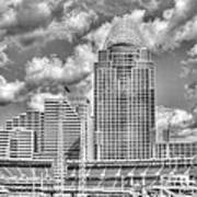 Cincinnati Ballpark Clouds Bw Print by Mel Steinhauer