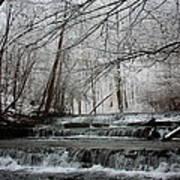 Cinderella Falls In Winter Print by Rachel Hallmark