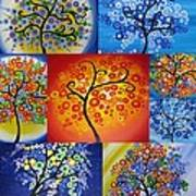 Circle Trees Print by Cathy Jacobs