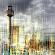 City-art Sydney Rainfall Print by Melanie Viola