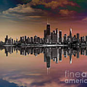 City Skyline Dusk Print by Bedros Awak