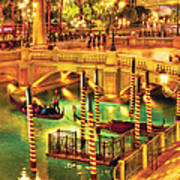 City - Vegas - Venetian - The Venetian At Night Print by Mike Savad