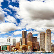 Classic Boston Skyline From The Water Print by Mark E Tisdale
