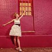 Classy Diva Standing In Front Of Pink Brick Wall  Print by Kriss Russell