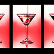 Cocktail Triptych In Red Print by Jane Rix