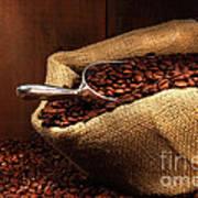 Coffee Beans In Burlap Sack Print by Sandra Cunningham