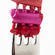 Colored Lipstick On Fork Print by Garry Gay